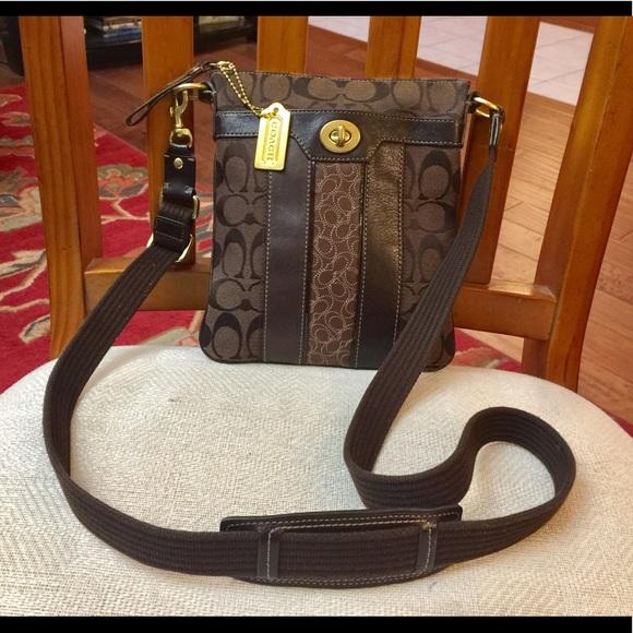 Coach Signature stripe swing pack crossbody bag